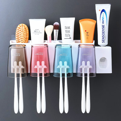 Toothpaste brush storage box rack wall-mounted multi-function