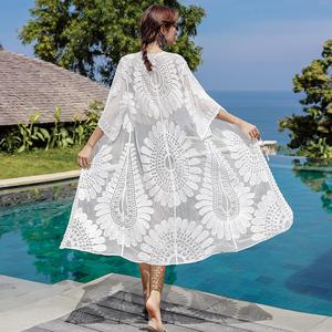 民族風刺繡長款披肩夏季海邊度假沙灘防曬衣外搭女裝系帶蕾絲開衫