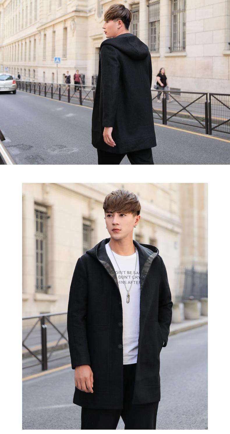 WOOG2005 nam màu đen dài tay áo mùa đông Hàn Quốc phiên bản của tự trồng len áo khoác lông