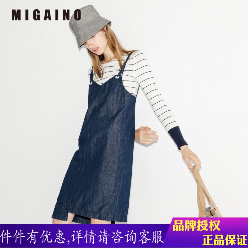 曼娅奴女装2018春装新款牛仔吊带两件套连衣裙女MI12DD001