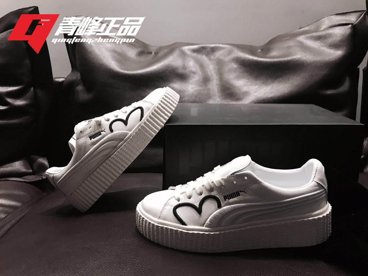 6f9512505fd ... Hummer Puma Fenty Creeper Rihanna platform shoes joint charity love  small white shoes 366403