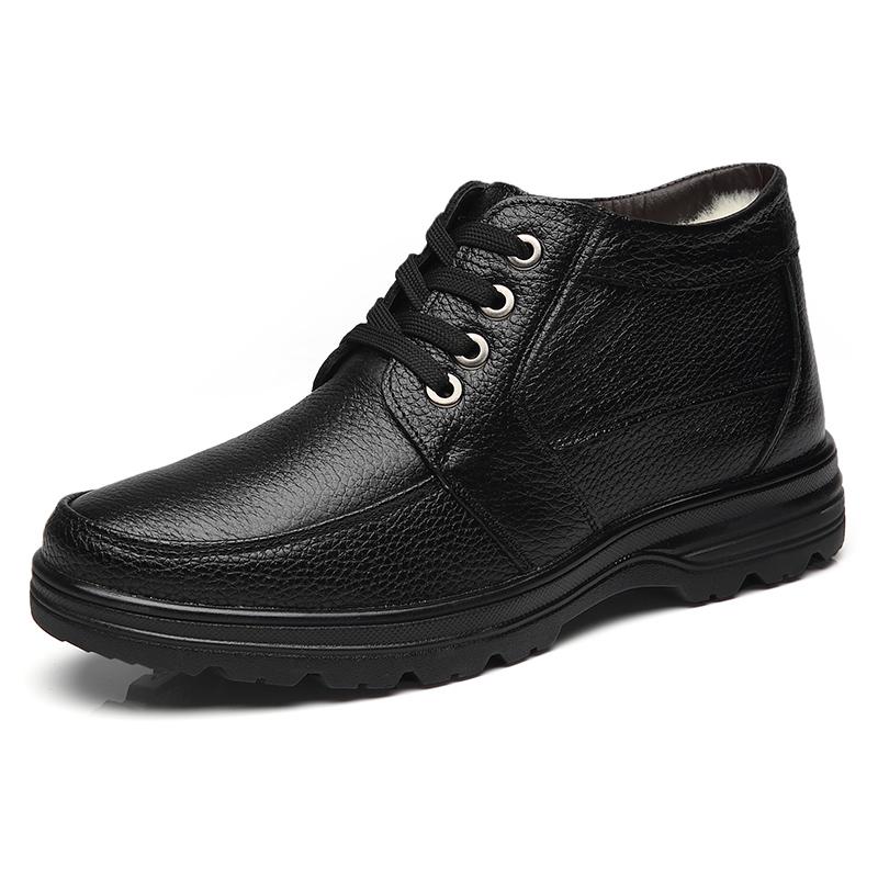 男士棉鞋男冬季保暖加绒真皮大码老人爸爸鞋中年加厚棉皮鞋男鞋子