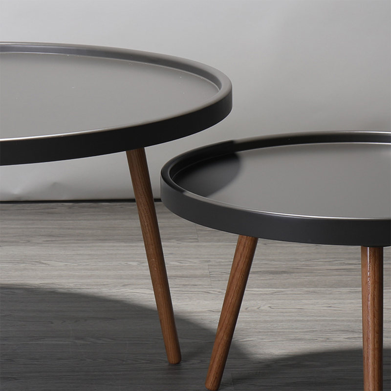 Hookesen Nordic coffee table small round table solid wood side table ...