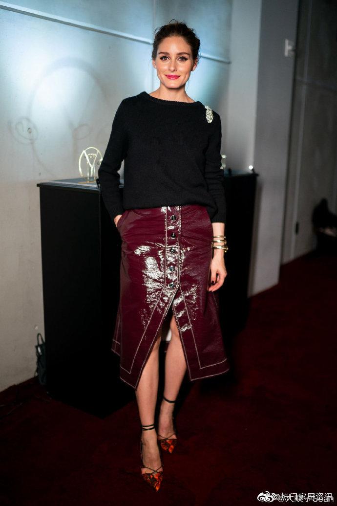 2019半身新款纽约红色OliviaPalermo同款欧美风皮裙酒秋冬名模裙