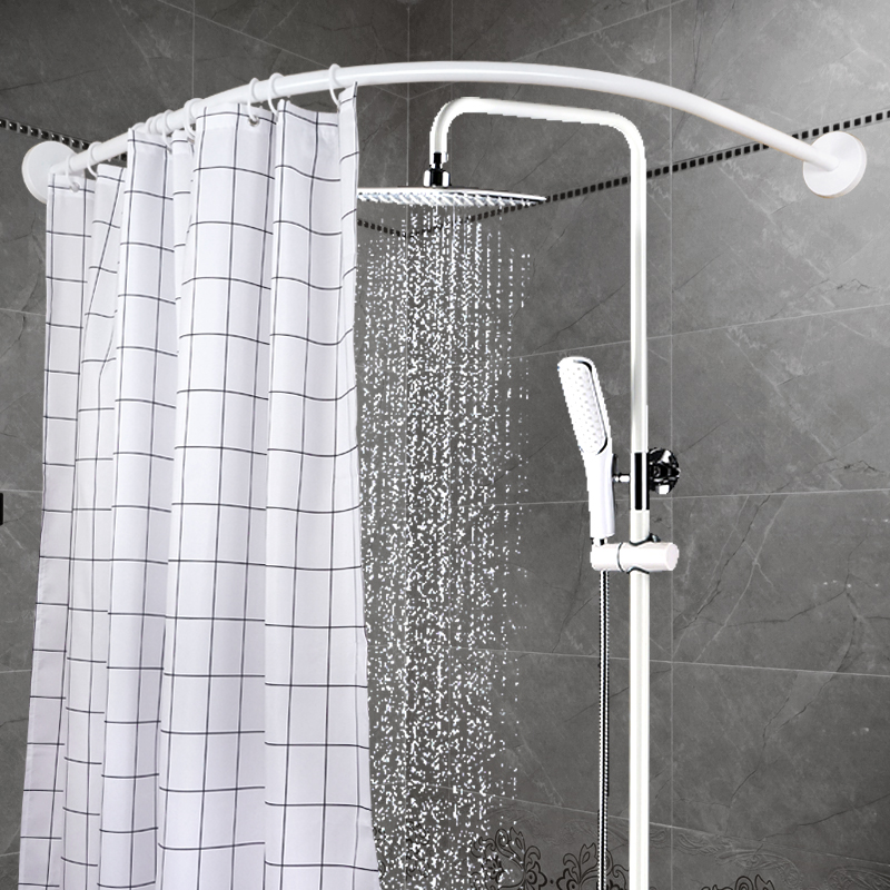 White Free Punch Stainless Steel Curved Shower Curtain Rod Toilet