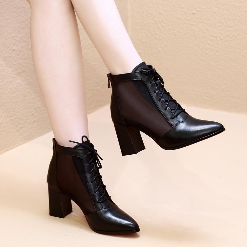 真皮网纱短靴2020春季高跟鞋女粗跟夏天透气马丁凉靴中跟镂空网靴