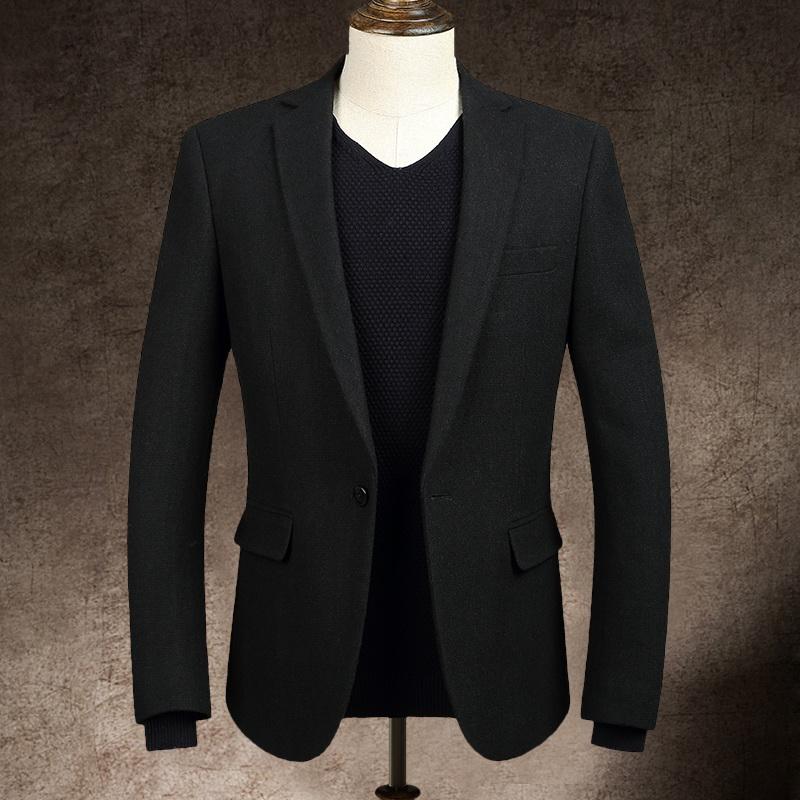 EF男装 秋冬单西时尚羊毛呢休闲西服 青年流行韩版修身小西装外套