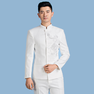 Chinese tunic suit, men's youth collar, Korean version, self-cultivation performance, singer presenter, adult chorus costume.