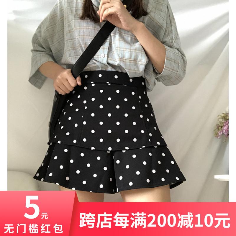 大码波点短裤女2019新款潮高腰宽松夏季裙裤a字型荷叶边阔腿短裤