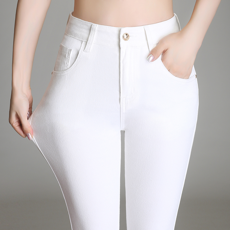 2019 new autumn and winter high waist white plus velvet jeans ladies was thin tight elastic nine points feet trousers
