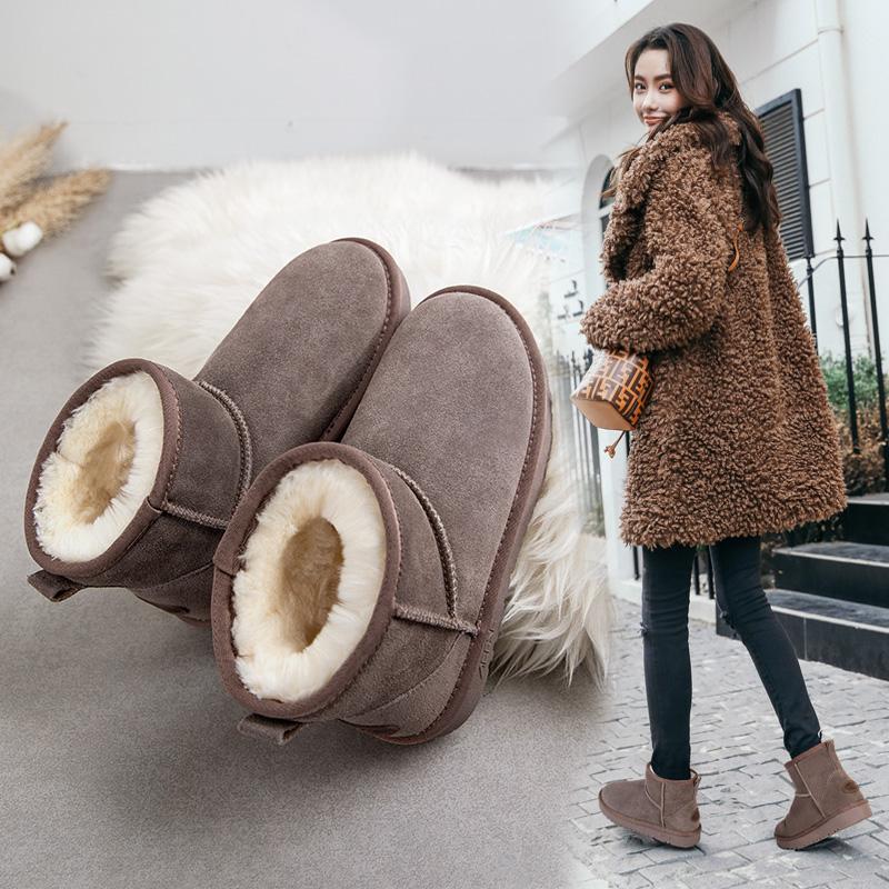 艾斯臣网红雪地靴女鞋子冬2018新款一脚蹬短筒棉鞋加厚加绒面包鞋