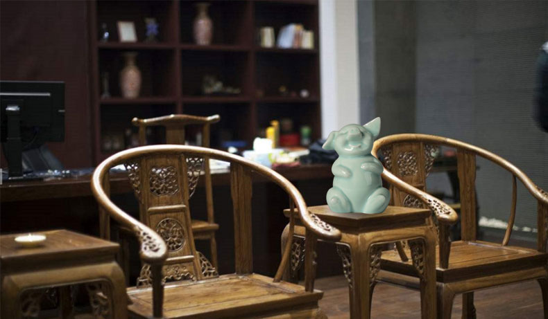 Green glaze pig furnishing articles furnishing articles of the new Chinese ceramics, ceramic creative home sitting room office