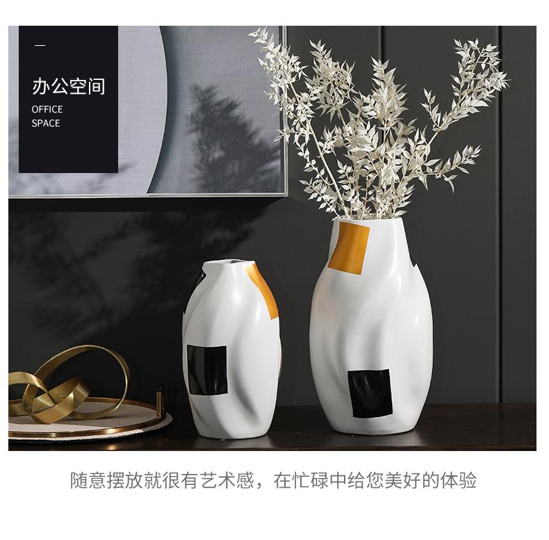 Minimalism rain tong household ceramics semi circular line vase, soft outfit interior furnishing articles