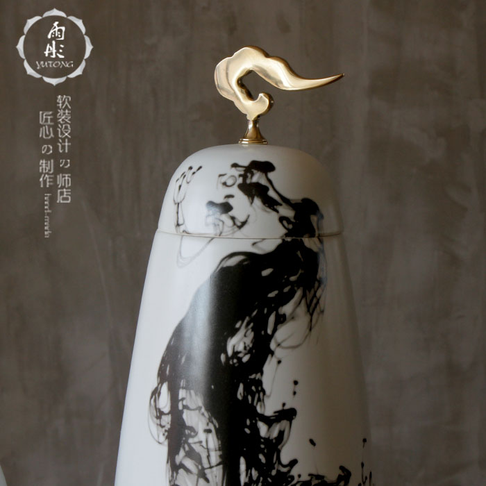 Chinese style classical modern soft outfit example room club creative study freehand brushwork in traditional Chinese ink painting ceramic xiangyun metal furnishing articles