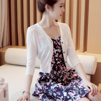 Ice silk knit cardigan female short sunscreen shawl outside air conditioning shirt female thin section summer dressing skirt small coat