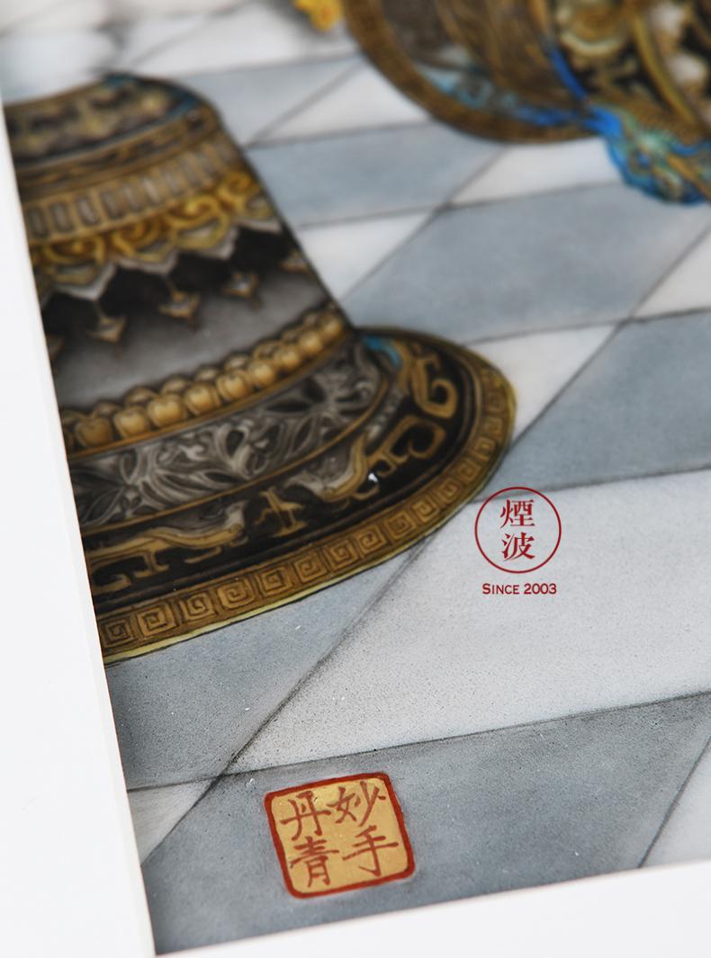 "Those painters jingdezhen nine calcinations hand Liu Jiyou ""heaven"" famille rose porcelain plate painting"