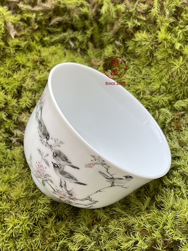 Jingdezhen nine calcinations hand - made color ink painters porcelain hand painting of flowers and keller cup sample tea cup