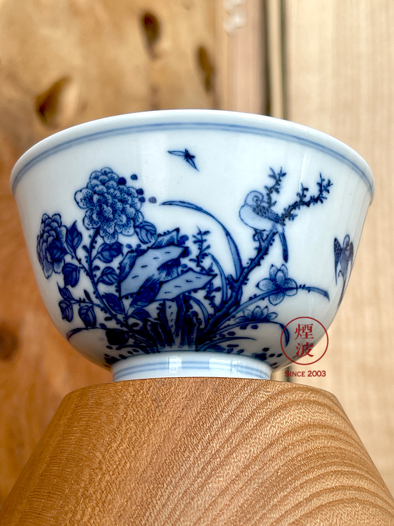 Jingdezhen lesser RuanDingRong made lesser rock peony orchid yan butterfly sample tea cup cup drawing