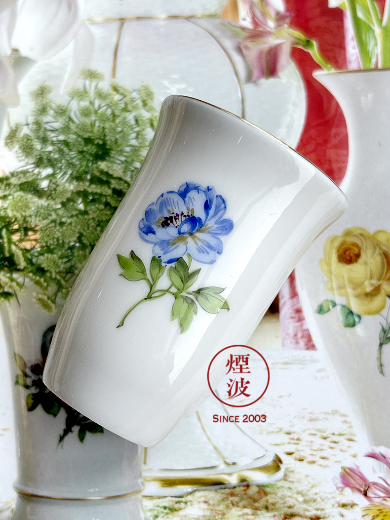 German MEISSEN porcelain mason series naturalistic painting of flowers and the see colour blue flower fragrance - smelling cup tea cups