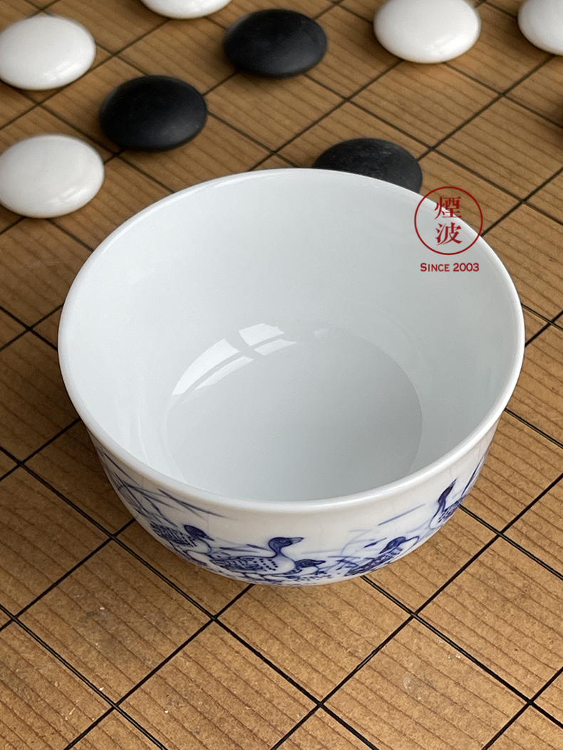 Jingdezhen nine calcinations hand - made of blue and white flower duck blue and white porcelain hand mud chamber pressure hand a cup of tea cups