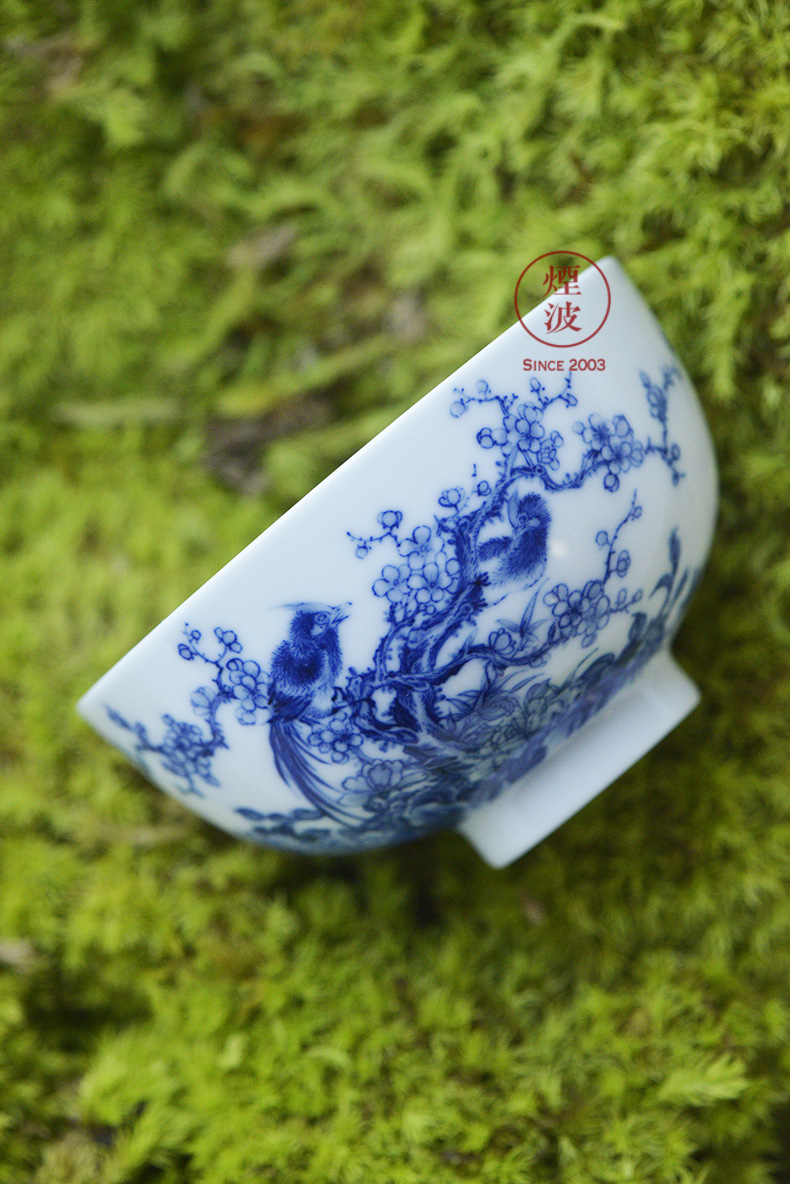 Jingdezhen nine wonderful hand burn hand - made porcelain nine paragraphs practice finches peach blossom put drunk heart bowl of tea cups
