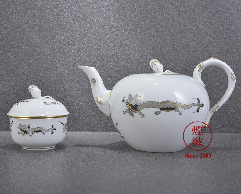 German mason mason meisen new clipping, black dragon grain porcelain teapot teacup afternoon tea set