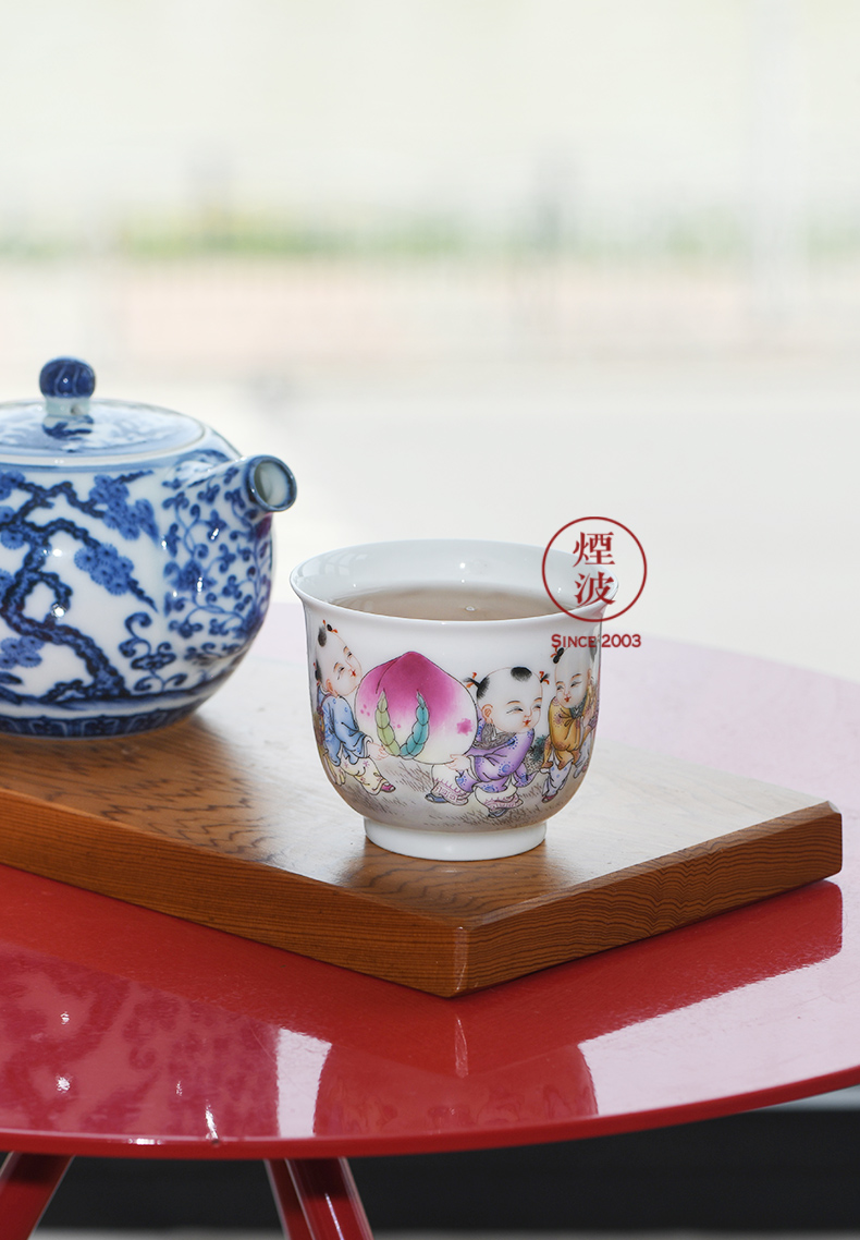 Jingdezhen spring auspicious jade Zou Jun up and colored enamel big head five of eight new system the lad yun long life long expressions using CPU