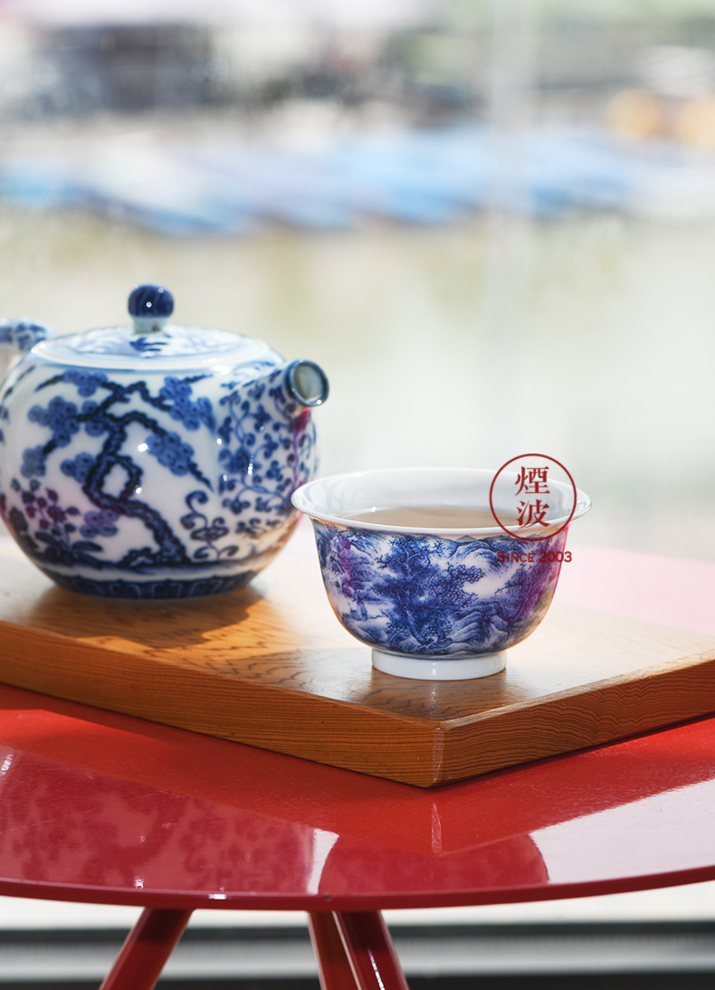 Jingdezhen spring auspicious jade Zou Jun up with porcelain of Confucian scholar of eight new system outraged side view fishery landscape hut koubei