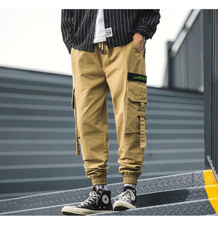 【有质检报告】ins潮牌工装裤宽松男士九分休闲运动束脚DS460TP55