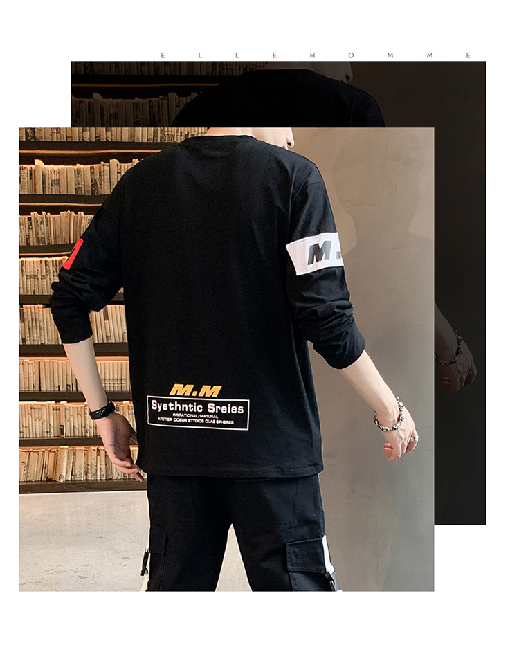 【已质检】个性男士长袖t恤男体恤宽松上衣服潮牌 DS499TP35