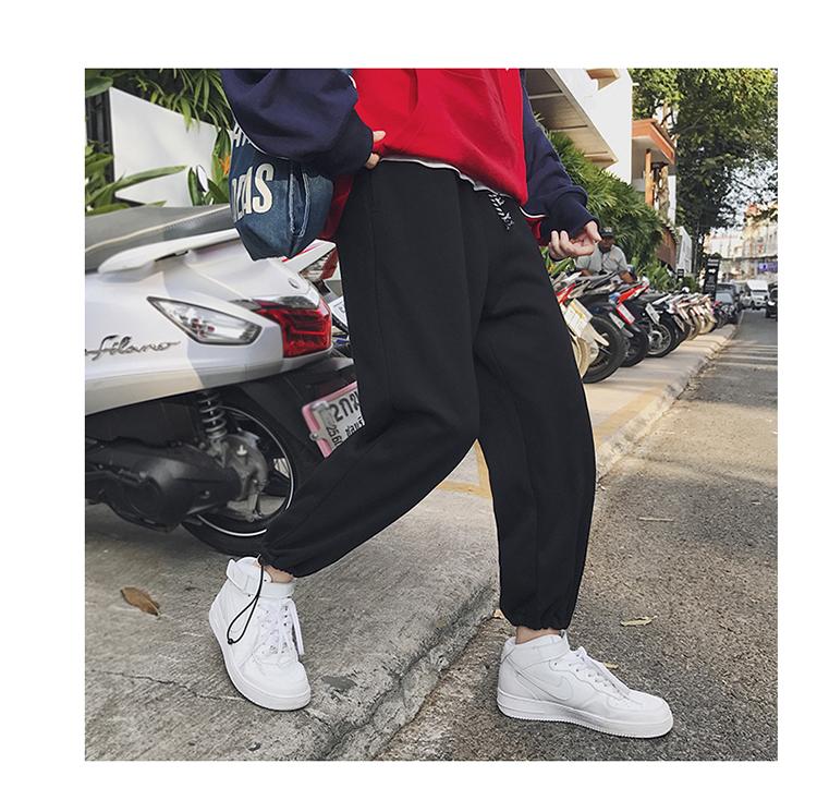 裤子男 春夏男士运动裤宽松直筒学生束口卫裤纯色休闲裤DS16TP45