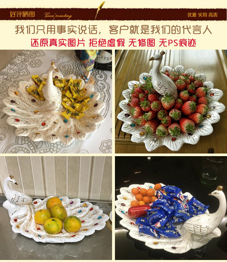 Modern European furnishing articles compote home sitting room tea table individuality creative ceramic fruit bowl peacock tea table decorations
