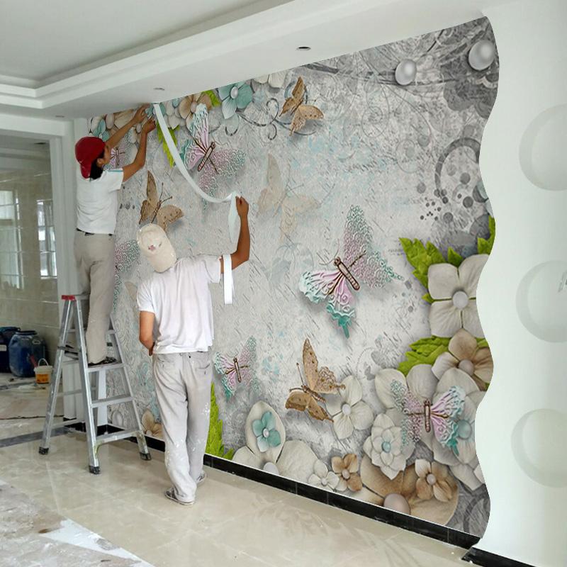 Сделанный на заказ простой современный 5D3d фреска гостиная спальня телевидение фон стена бумага стена нет ткань тканые ткани обои бабочка