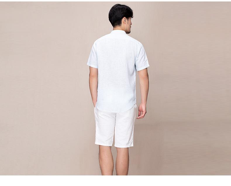 Hanp Han Ma gia đình linen nam ngắn tay áo sơ mi nam thời trang áo sơ mi linen phần mỏng ánh sáng màu xanh cổ áo sơ mi mẫu áo công sở đẹp
