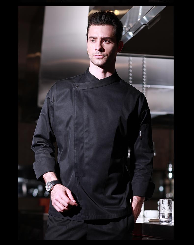 【新視界生活館】廚師服長袖西餐廳酒店廚房廚師長服裝總廚衣服男廚師工作服【黑色】XSJ❤818328