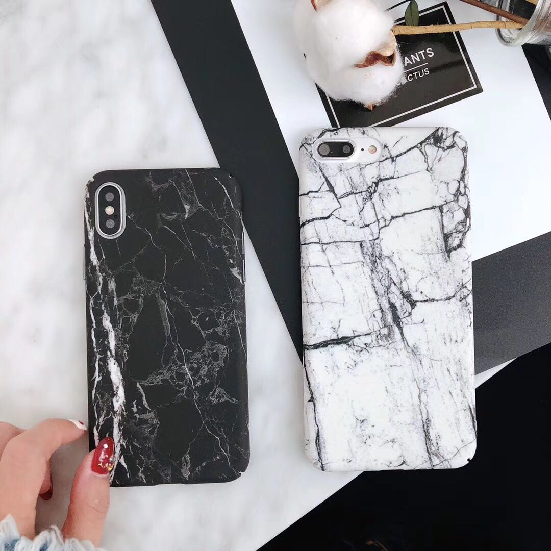 Marble black and white apple phone case hard marble hard phone case iPhone X/6/7/8p
