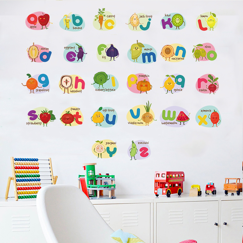 English alphabet wall stickers self-adhesive cartoon children's room  kindergarten classroom wall decoration early education stickers