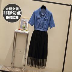9308【实拍】【附加视频】大码女装胖mm新款遮肚子连衣裙减龄牛仔
