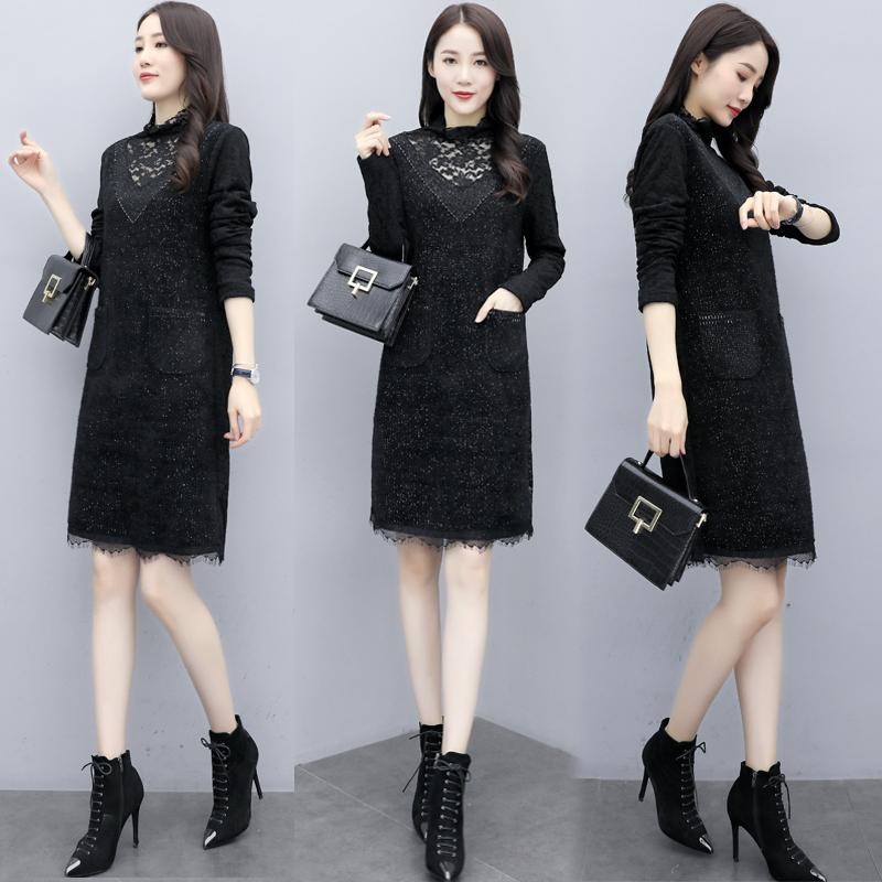 1965连衣裙加绒2019冬季新款长袖蕾丝针织长款黑色米色大货