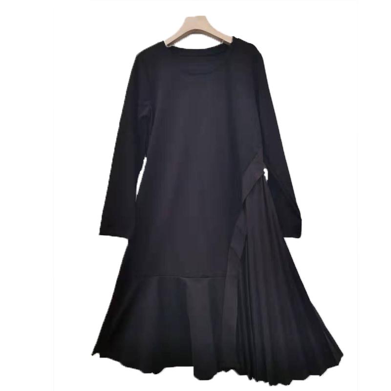 酷之依纯2019秋季新款韩版修身黑色压皱百褶拼接连衣裙