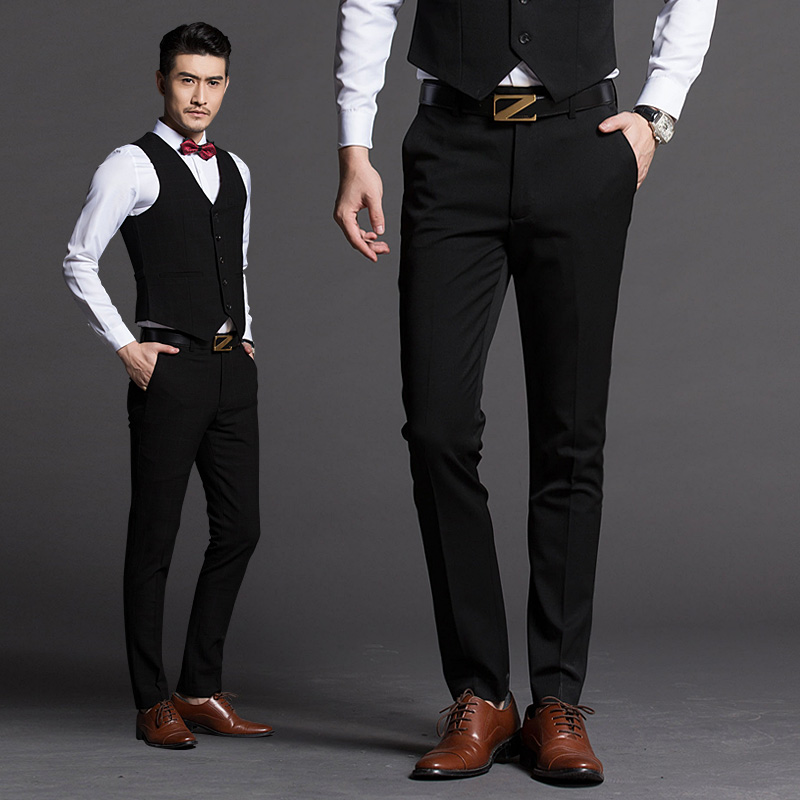 e29bf2769db3 Best man pants black summer best man trousers male brother group clothes  wedding slim suits non-iron suit pants tide