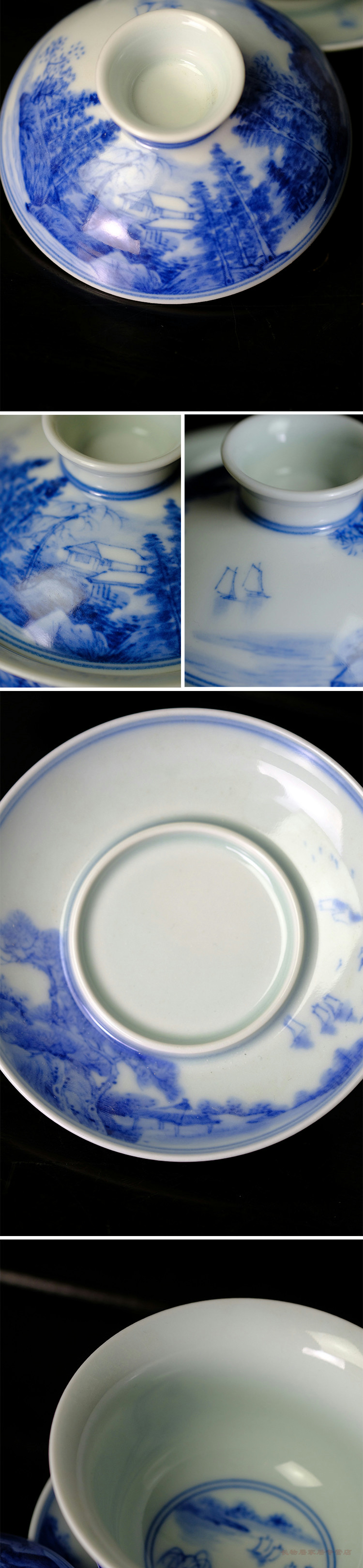 Long up offered home - cooked wen - bo xiong the teacher hand - made maintain in jingdezhen blue and white chunjiang white water rafting zealand-based scenic tureen tea set