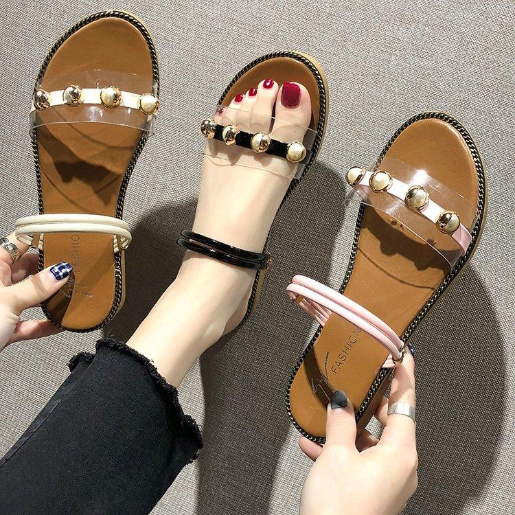 2019秋季新款凉鞋女鞋PU露趾2019年夏季平跟凉靴细带组合
