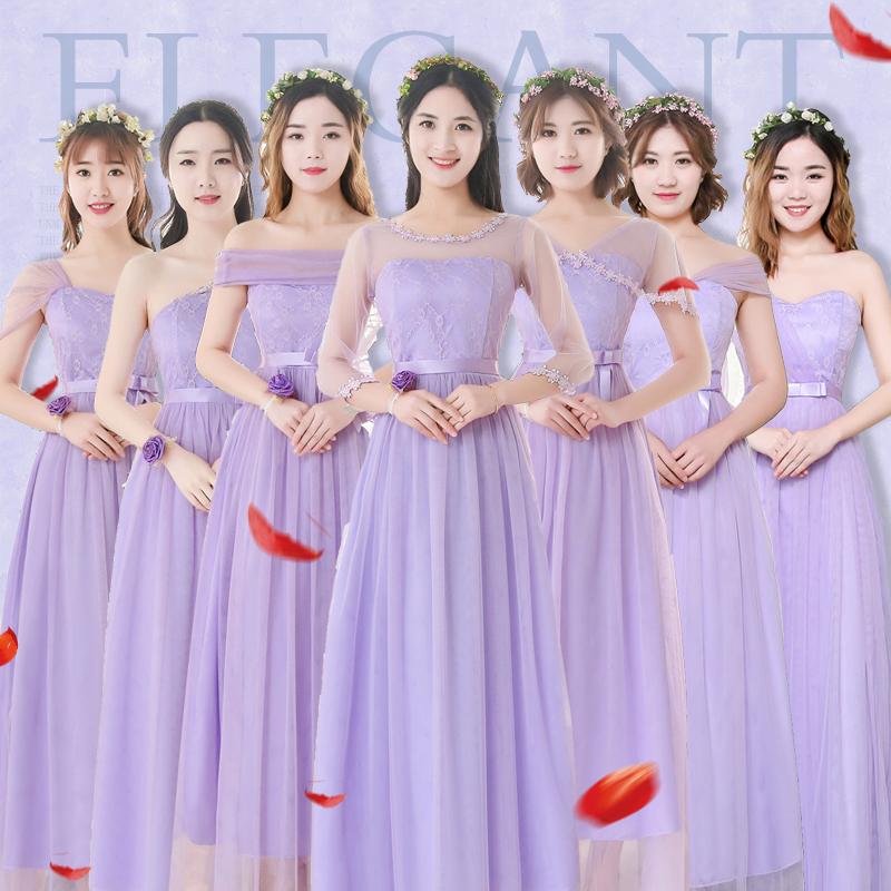 姐妹礼服女2018新款长款韩版大码伴娘团伴娘服连衣裙v姐妹2019春冬
