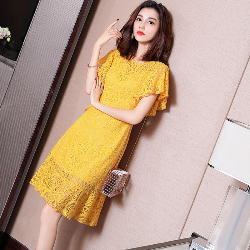 2019夏季黄色新款飞飞袖短裙女装连衣裙少女小a黄色裙子流行蕾丝夏