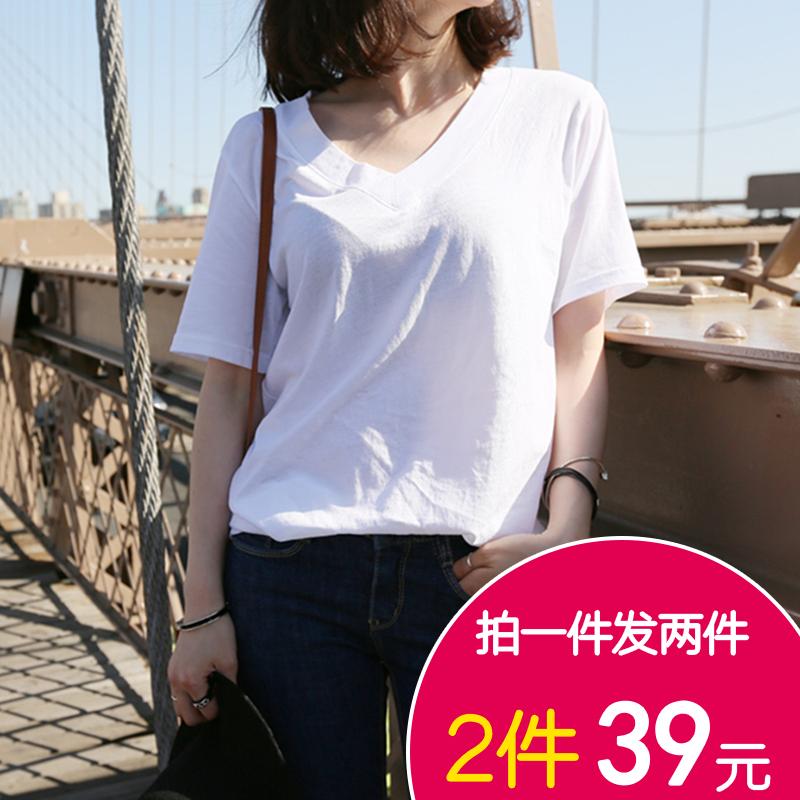 Простой студент лето чистый белый короткий рукав T футболки женщина V воротник свободный хлопок твердый свитер дикий корейский случайный