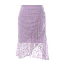 夏季休闲荷叶边褶皱蕾丝纯色短款包臀裙