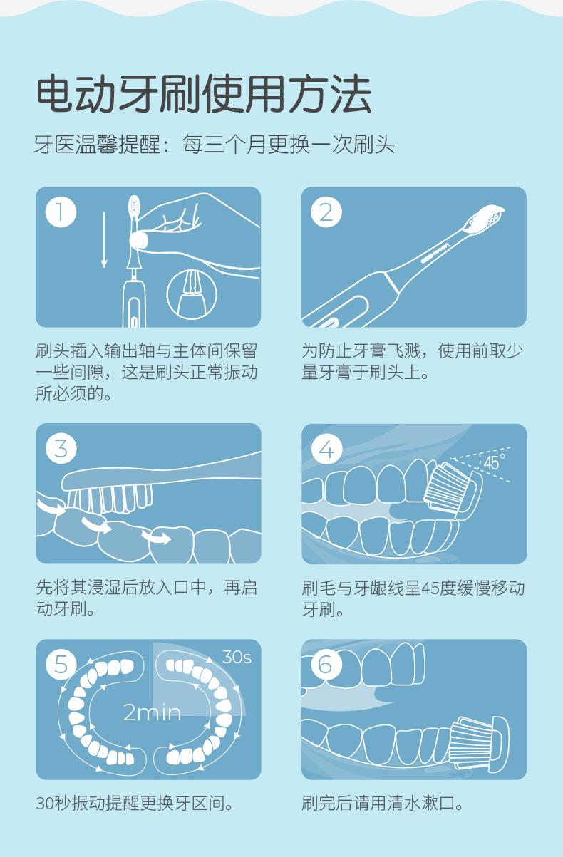 力博得 儿童 声波电动牙刷 2种模式+感应充电 图18