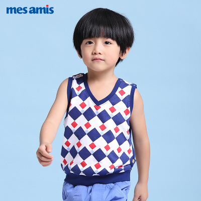 Montmorillon children's clothing 2017 spring and summer new small boy vest cotton plaid male baby vest sleeveless T-shirt