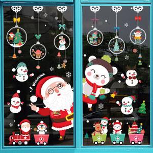 圣诞节装饰品场景布置玻璃橱窗贴纸圣诞树老人礼物墙贴自粘门贴画